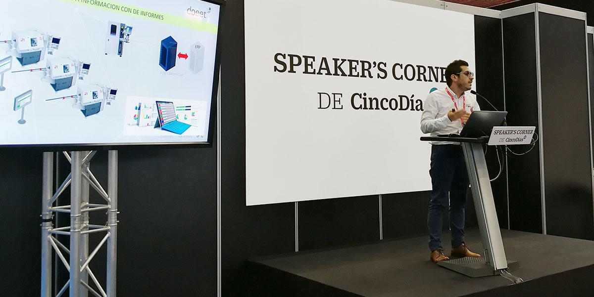 Jordi Fuster durante la presentación de doeet en el Speaker's Corner de Cinco Días durante BIEMH 2018