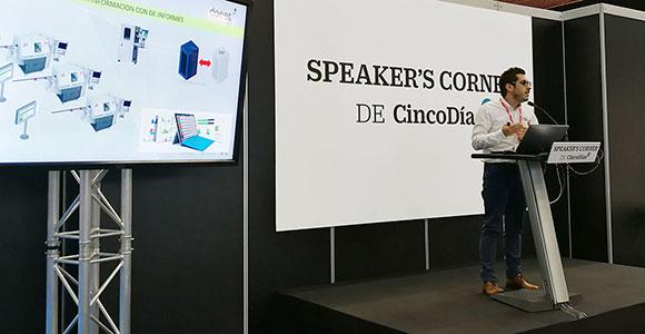 Jordi Fuster durante la presentación de doeet en el Speaker's Corner de Cinco Días durante BIEHM 2018